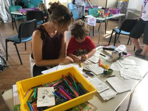 Drawing table at our summer fete