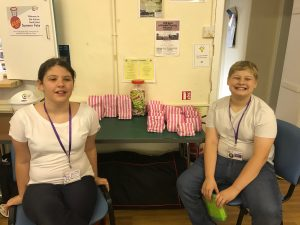 Ethen and Grace at our sweet stall