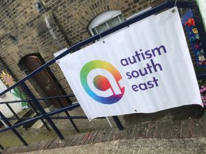 Our banner outside Northfleet Central